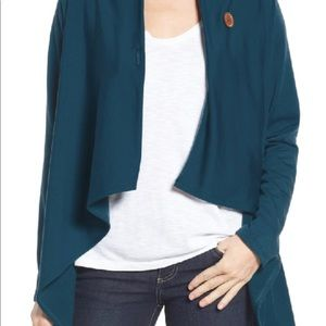 Bobeau one button draped fleece sweater